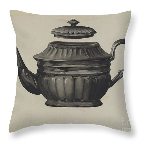 Throw Pillow featuring the drawing Teapot by Samuel O. Klein