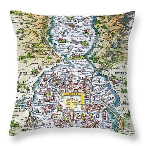 1556 Throw Pillow featuring the photograph Tenochtitlan (mexico City) by Granger