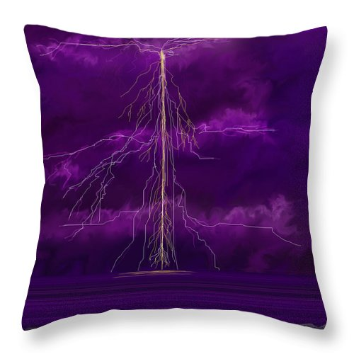 Lightning Storm Throw Pillow featuring the painting Tesla by Anne Norskog