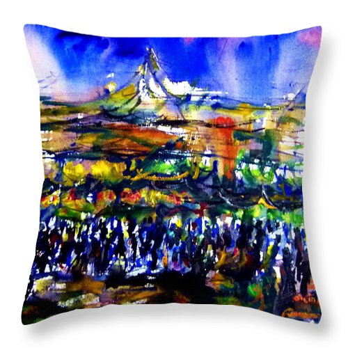 Throw Pillow featuring the painting That Night by Wanvisa Klawklean