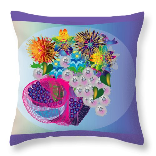 Flowers Throw Pillow featuring the digital art The Arrangement by George Pasini