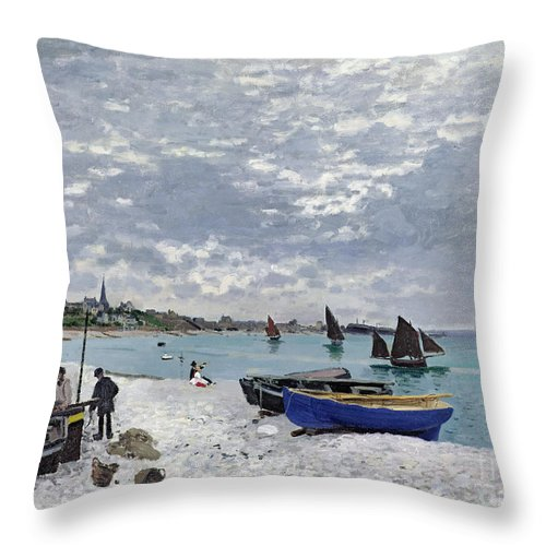 Coastal;french;rowing Boat;sailing;sainte Adresse; Boats Throw Pillow featuring the painting The Beach At Sainte Adresse by Claude Monet