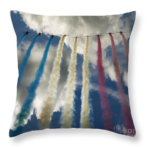 Red Arrows Throw Pillow featuring the photograph The Big 9 by Angel Ciesniarska
