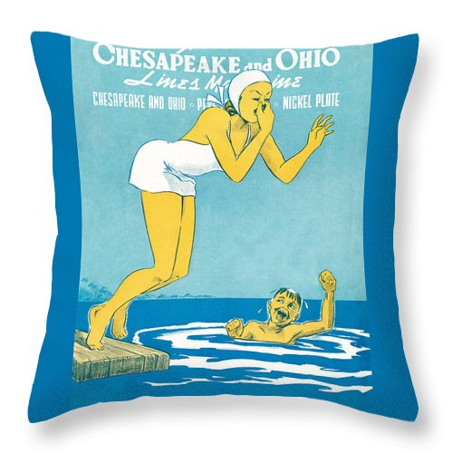 Water Throw Pillow featuring the drawing The Big Splash by The Baltimore and Ohio Railroad