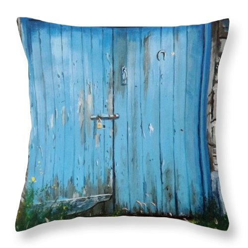 Door Throw Pillow featuring the painting The Blue Door by Tony Gunning
