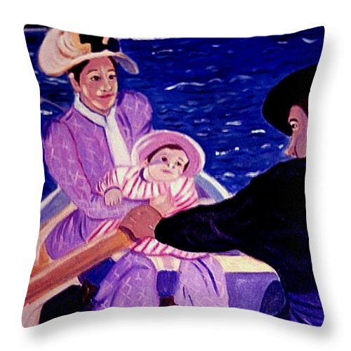 Pastiche Throw Pillow featuring the painting The Boat Trip by Rusty Gladdish