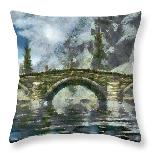 Bridge Throw Pillow featuring the digital art The Bridge by Marjan Mencin
