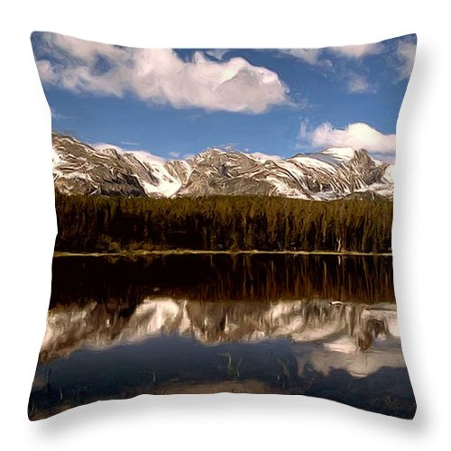 Landscapes Throw Pillow featuring the painting The Canadian Rockies by Wayne Bonney