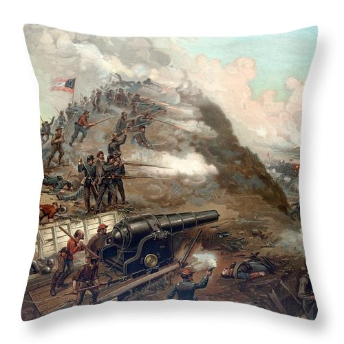 Civil War Throw Pillow featuring the painting The Capture Of Fort Fisher by War Is Hell Store