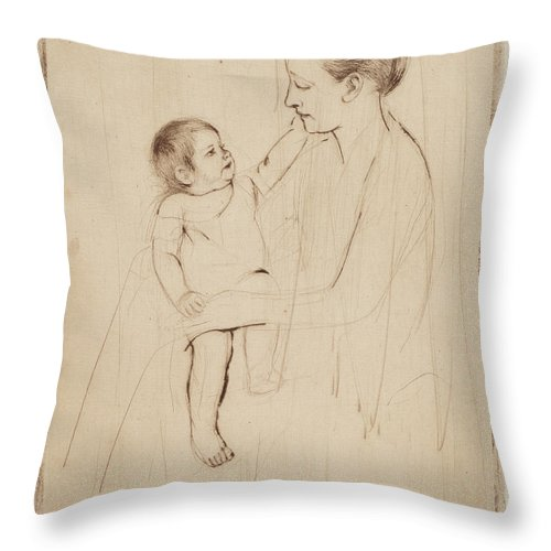 Throw Pillow featuring the drawing The Caress by Mary Cassatt
