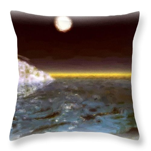 Seascape Throw Pillow featuring the painting The Cold Calm by Wayne Bonney