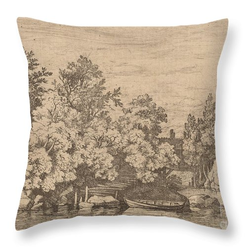 Throw Pillow featuring the drawing The Cudgel Dam And Covered Bridge by Allart Van Everdingen