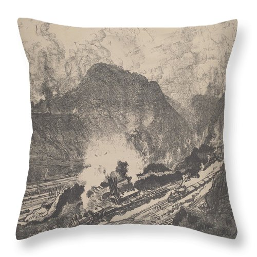 Throw Pillow featuring the drawing The Cut From Culebra by Joseph Pennell