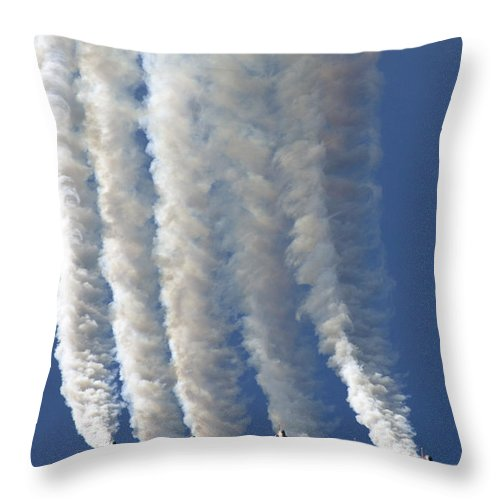 Red Arrows Throw Pillow featuring the photograph The Diamond by Angel Ciesniarska