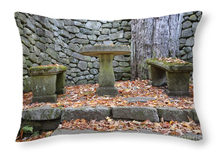 Stone Wall Throw Pillow featuring the photograph The Fells Historic Estate In Newbury Nh Usa by Erin Paul Donovan