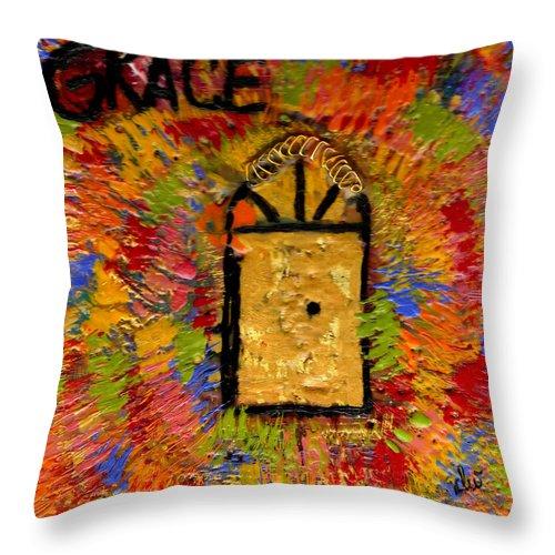 Door Throw Pillow featuring the mixed media The Golden Door Of Grace by Angela L Walker