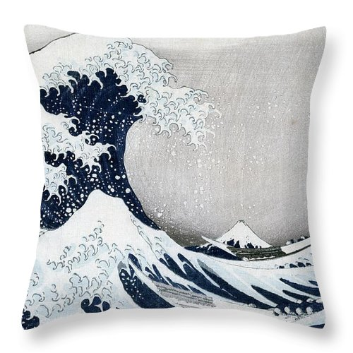 The Throw Pillow featuring the painting The Great Wave of Kanagawa by Hokusai