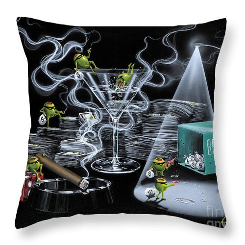 Olives Throw Pillow featuring the painting The Heist by Michael Godard