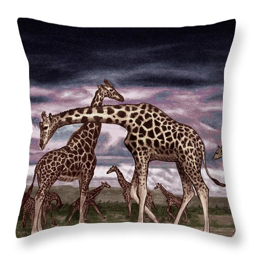 The Herd Throw Pillow featuring the drawing The Herd by Peter Piatt