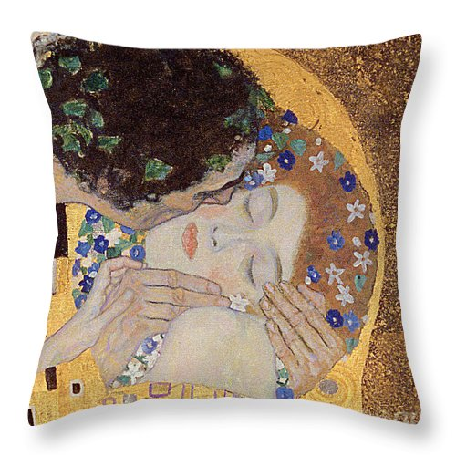 Klimt Throw Pillow featuring the painting The Kiss by Gustav Klimt