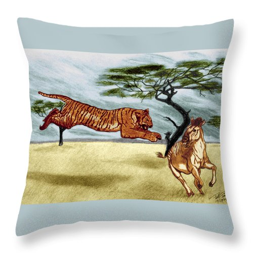 The Lunge Throw Pillow featuring the drawing The Lunge by Peter Piatt