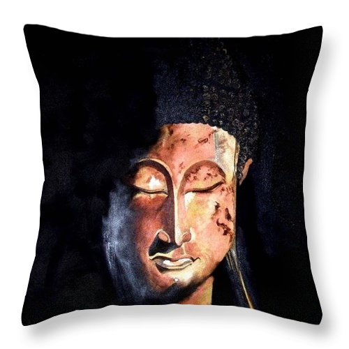 Buddha Throw Pillow featuring the painting The Madas Buddha by Jane Simpson