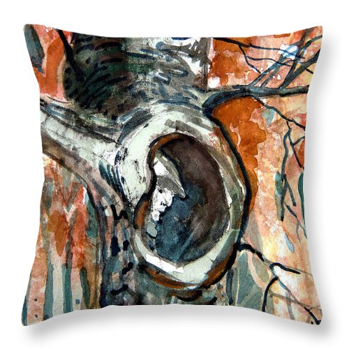 Man Throw Pillow featuring the painting The Man In The Tree by Mindy Newman
