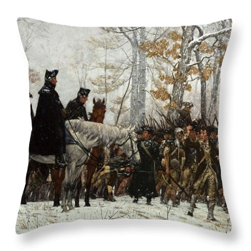 March Throw Pillow featuring the painting The March To Valley Forge by William Trego