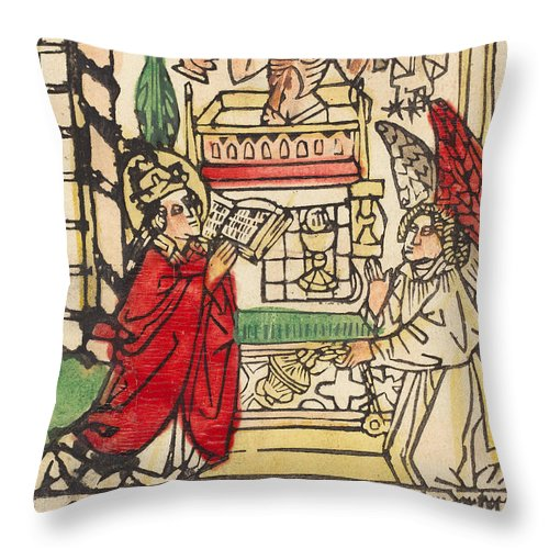 Throw Pillow featuring the drawing The Mass Of Saint Gregory by German 15th Century