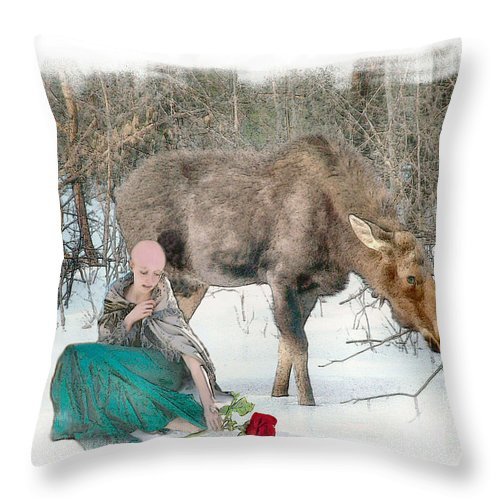 Cancer Throw Pillow featuring the photograph The Memory Rose by Rose Guay