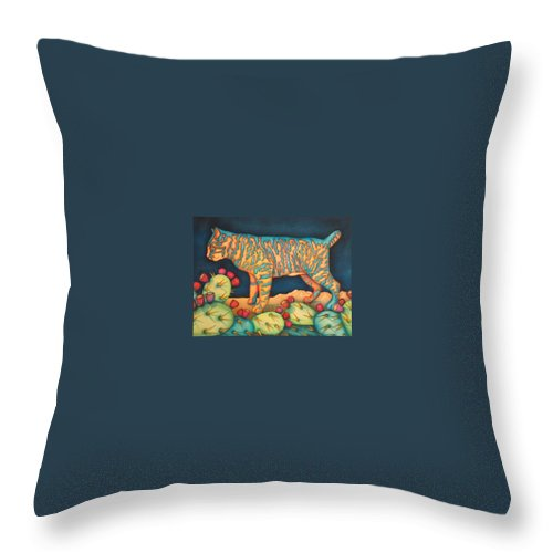 Cat Throw Pillow featuring the painting The Moon The Mountains Cacti A Cat by Jeniffer Stapher-Thomas