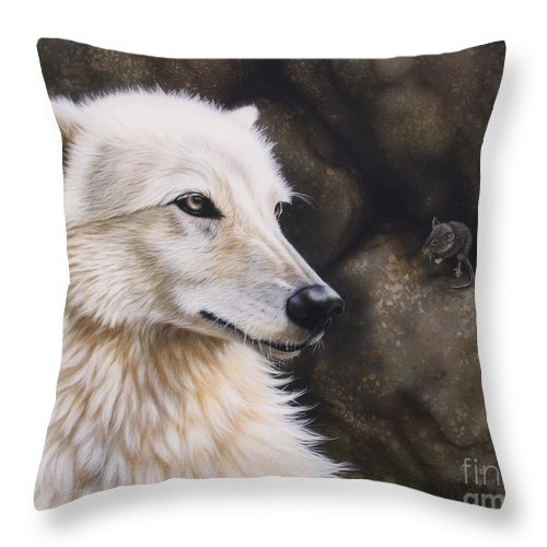 Acrylic Throw Pillow featuring the painting The Mouse by Sandi Baker