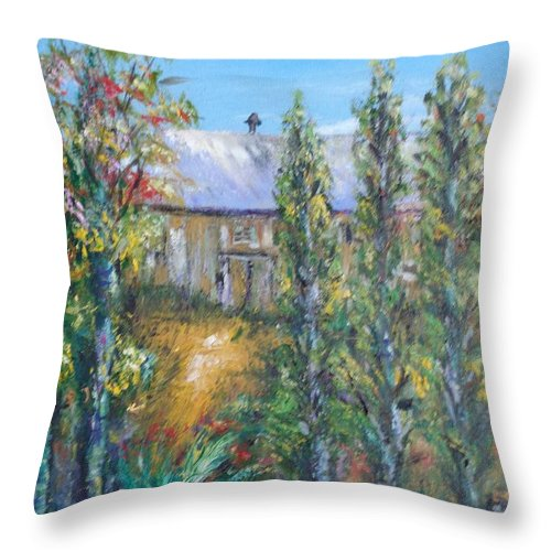 Landscape Throw Pillow featuring the painting The Old Barn by Eydie Paterson