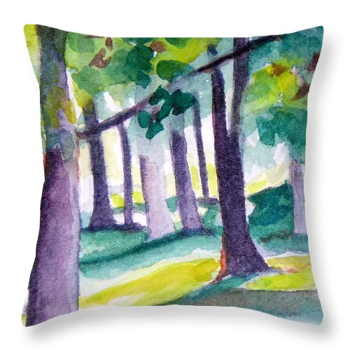 Nature Throw Pillow featuring the painting The Perfect Day by Jan Bennicoff
