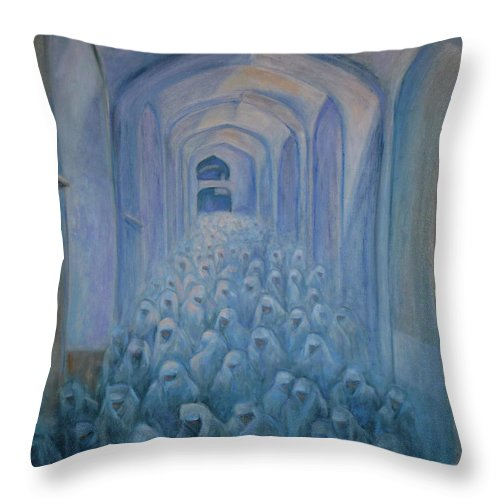 Women Throw Pillow featuring the painting The Prayers... by Xueling Zou