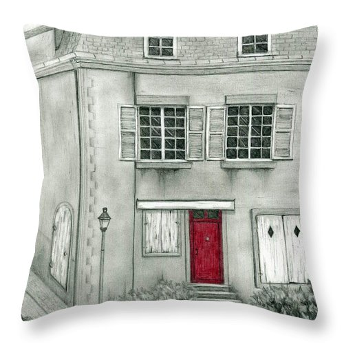 France Throw Pillow featuring the drawing The Red French Door by Mary Tuomi
