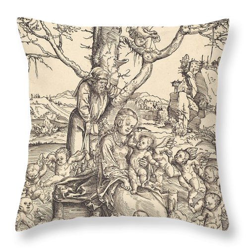 Throw Pillow featuring the drawing The Rest On The Flight Into Egypt by Lucas Cranach The Elder