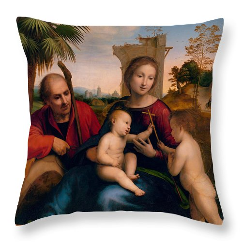 Fra Bartolomeo Throw Pillow featuring the painting The Rest On The Flight Into Egypt With St. John The Baptist by Fra Bartolomeo