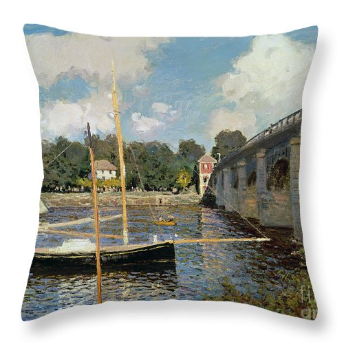 Boat Throw Pillow featuring the painting The Seine At Argenteuil by Claude Monet