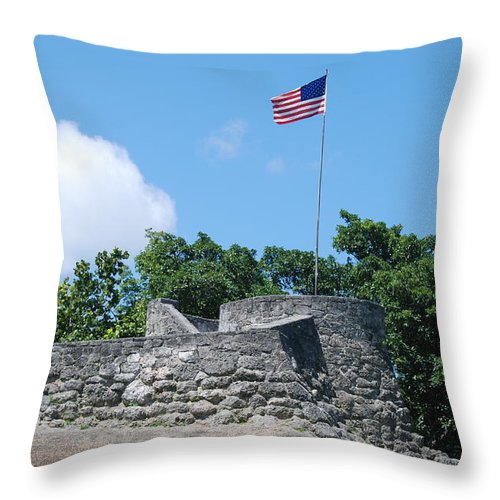 American Flag Throw Pillow featuring the photograph The Stand by Rob Hans