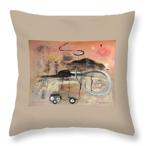 Acrylic Paper Canvas Abstract Contemporary Landscape Dusk Twilight Countryside Throw Pillow featuring the painting The Tempo Of A Day by Seon-Jeong Kim