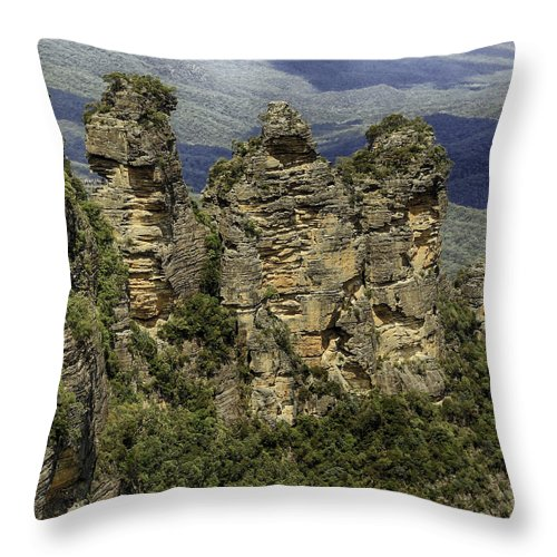 Sydney Throw Pillow featuring the photograph The Three Sisters by Chris Cousins