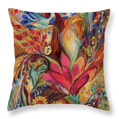 Original Throw Pillow featuring the painting The Tree Of Life by Elena Kotliarker