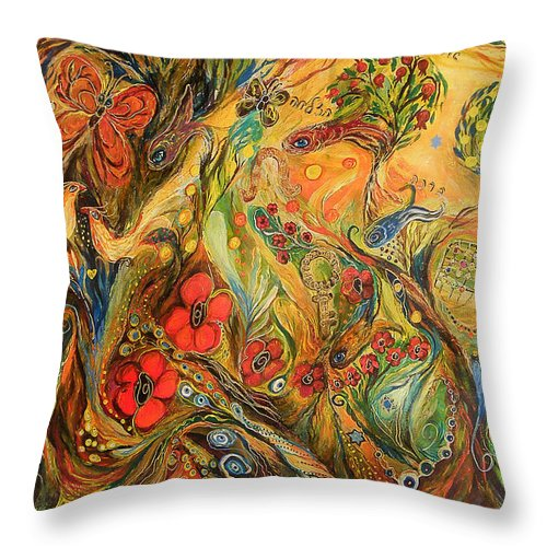 Original Throw Pillow featuring the painting The True Love by Elena Kotliarker