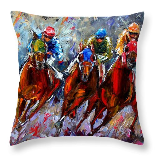 Horse Race Throw Pillow featuring the painting The Turn by Debra Hurd