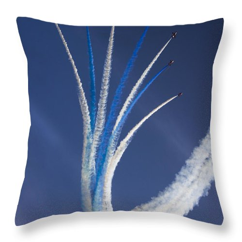 Red Arrows Throw Pillow featuring the photograph The Vertical Break by Angel Ciesniarska