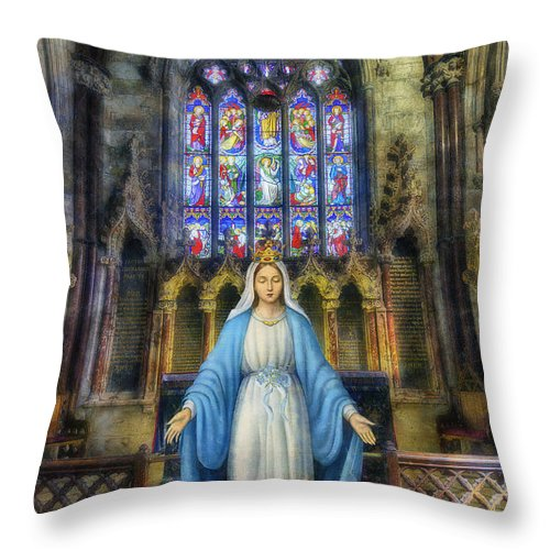 Mary Throw Pillow featuring the photograph The Virgin Mary by Ian Mitchell