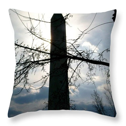 Photography Throw Pillow featuring the pyrography The Washington Monument by Fareeha Khawaja