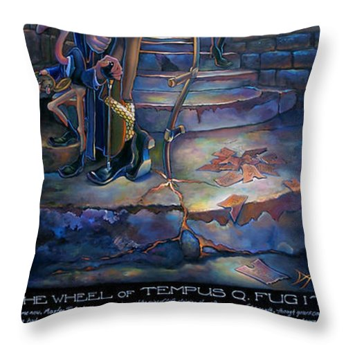 Mermaid Throw Pillow featuring the painting The Wheel Of Tempus Q. Fugit by Patrick Anthony Pierson