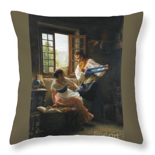 Giovanni Battista Torriglia 1858 - 1937 Italian Throw Pillow featuring the painting The Wool Winders by MotionAge Designs